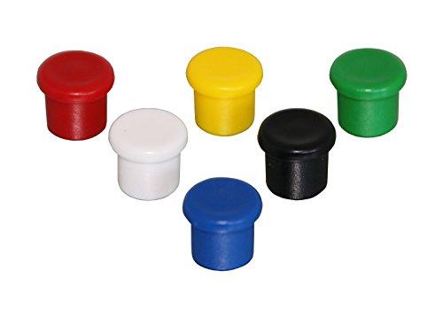 Neodym-Organisationsmagnet – Extrem haftstarker Mini-Magnet mit Griff – Ideal für Whiteboards – Ø10x9 mm – bunt – 6 Stück – von Magna-C