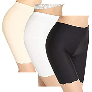 TRISTIN Mujeres 3 Pack Pantalones Cortos para niños Ropa Interior Anti Rozaduras Tallas Grandes Calzoncillos Largos Bóxers Transparentes y Sexy Bragas sin Costuras Slipshort para Damas