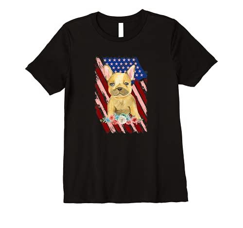 Womens Vintage French Bulldog American Flag Patriotic Frenchie Premium T-Shirt