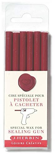 J.Herbin 35826T - 6 barras de cera para sello para pistola, blanda, color burdeos