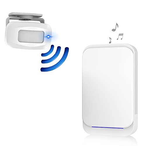 Aktivstar Sensore di movimento con suono allarme per porta/ingresso della porta/casa e commerciale, campanello wireless per porta, allarme di sicurezza, rilevatore di presenza, portatile, 36 melodie