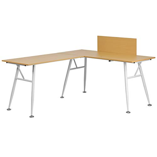 Flash Furniture Beech Laminate L-Shape Computer Desk with White Metal Frame