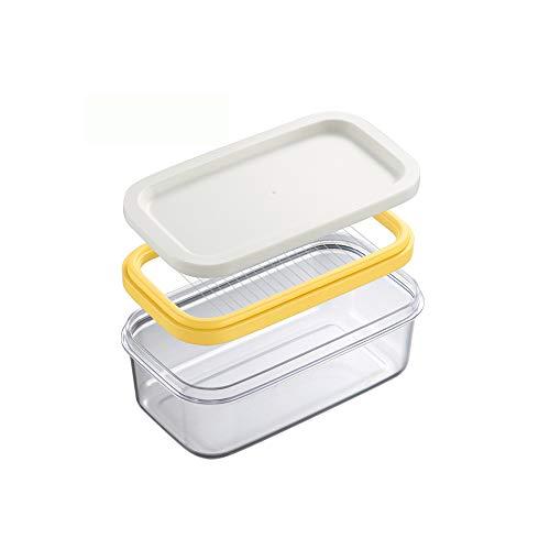 Konesky Kunststoff Butterdose, BPA-frei 2 in 1 Durchsichtiger Butterbehälter mit Aufschnittmaschine für 8 Unzen oder 2 Stück 4 Unzen Sticks Butter