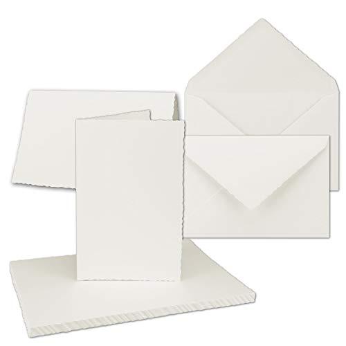 15x Vintage Faltkarten-Set mit Zackenschnitt - Natur-Weiß - Edel-Bütten Doppel-Karten mit Brief-Umschläge - DIN B6-11,0 x 17,3 cm - imitierter Büttenrand gestanzt - by GUSTAV NEUSER®