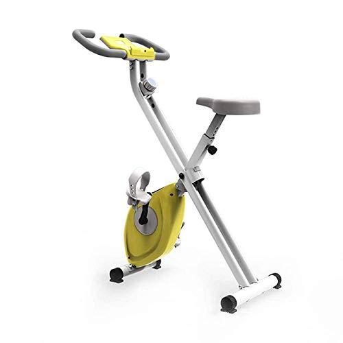 MZHEHAOAN Bicicleta estática estática para interior con rueda de inercia de acero, freno magnético, pulsómetro, pantalla LCD y soporte para botellas, peso del usuario hasta 150 kg