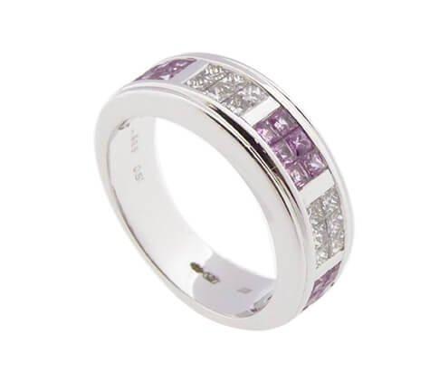 Christian Wit gouden Ring met diamanten en Roze Beryl