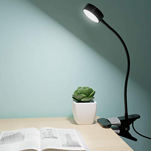 Litogo Lampara Pinza LED, 25 LED Lampara Escritorio Pinza, con Puerto de Carga USB Luz Lectura con Protección Ocular y Ahorro de Energía Lampara Lectura, 360° Cuello Flexible Ajustable Luz para Leer