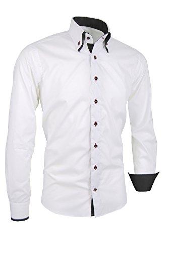 Giorgio Capone Herrenhemd, 100% Baumwolle, weiß, Doppelkragen, Langarm, Slim & Regular Fit (L Reg mit Tasche)