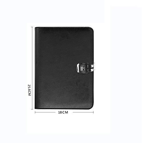 LEIXIN Cuaderno Libreta A5 de Hojas Sueltas de la Cinta de Bloqueo de múltiples Funciones del Cuaderno de la Cremallera del Bolso Password Book Trabajo Diario Bloc de Notas, una (Color : E)