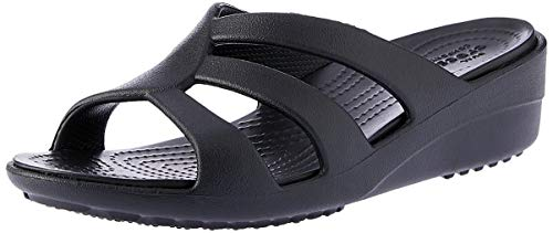 Crocs Sanrah Strappy Wedge Ciabatte Donna, Nero (Black), 37/38 EU