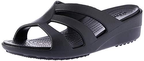 Crocs Sanrah Strappy Wedge, Damen Offene Sandalen mit Keilabsatz, Schwarz (Black), 39/40 EU