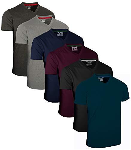 FULL TIME SPORTS® Tech 6 Pack FTS-639 mit V-Ausschnitt T-Shirts (X-Large, Dunkel Sortiert)