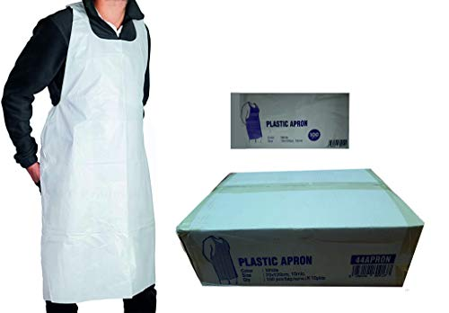1000 X Disposable Aprons White Plastic Aprons Box Of 1000 Aprons Size 70 X 120cm, 10Microns Comes In 10 Bags Of 100 Aprons Manufacturer Sealed