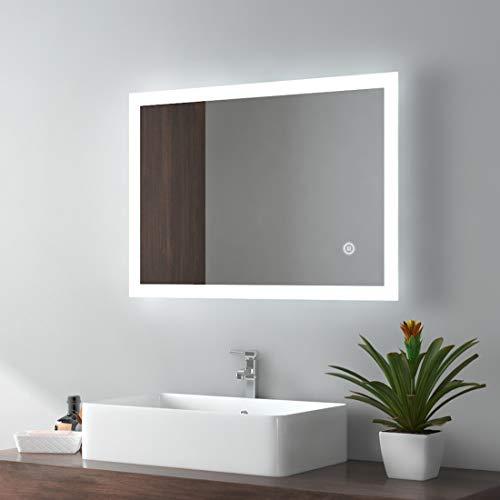 EMKE LED Badspiegel 50x70cm Badezimmerspiegel mit Beleuchtung 3 Lichtfarbe 3000-6400K kaltweiß Neutral Warmweiß Lichtspiegel Badezimmerspiegel mit Touchschalter+Beschlagfrei