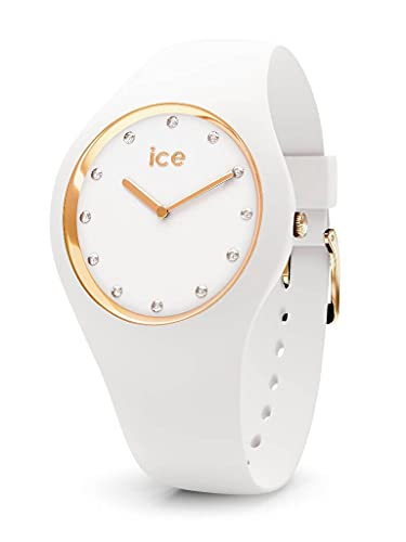 ICE-WATCH - ICE cosmos White Gold - Weiße Damenuhr mit Silikonarmband - 016296 (Medium)