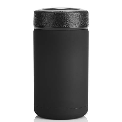 Termo para comida, Botella Aislada de Acero Inoxidable Doble Pared Fiambrera del vacío de la caja del almuerzo del envase de comida del acero inoxidable(Black)