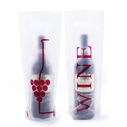 Eurofides 200 Shopper Portabottiglie in Plastica con Stampa Wine Fronte Retro Colore Busta Trasparente cm.16+10x38 Manico a Fagiolo