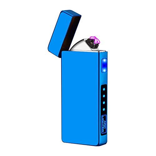 Skrskr Accendino doppio antivento, al plasma, ricaricabile tramite USB, con indicatore della batteria, regalo per uomini 7,5 x 1,2 x 3,2 cm (3 colori)