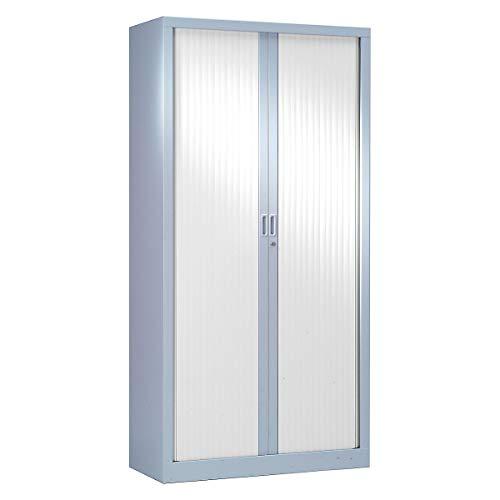 Armoire Monobloc à rideaux | Aluminium | Blanc | HxLxP 1980 x 1000 x 430 | Certeo