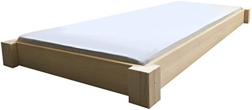 LIEGEWERK Bodentiefes Designbett Massivholzbett Bett Holz massiv 90 100 120 140 160 180 200 x 200cm hergestellt in BRD (90cm x 200cm)