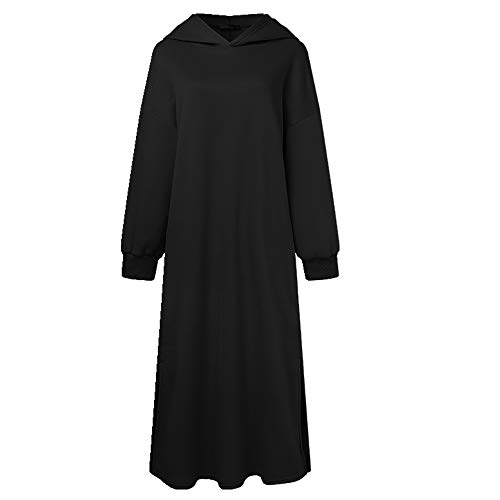 Casual Manga Larga Maxi Con Capucha Señoras Sólido Túnica Femenina Otoño Vintage Bolsillo Sudadera Vestido De Gran Tamaño 5XL