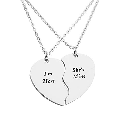 Eilygen Gay Couple Gifts Stainless Steel Heart Charm Necklace Set LGBT Necklace Gay Necklace (I m Hers Shes Mine)