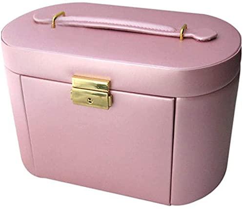 LSLS Caja joyero Organizador de Caja de joyería para Mujeres, Organizador de Almacenamiento de Cuero de Tres Capas con Espejo y 2 cajones y Bloqueo para Damas Organizador de Joyas (Color : #6)