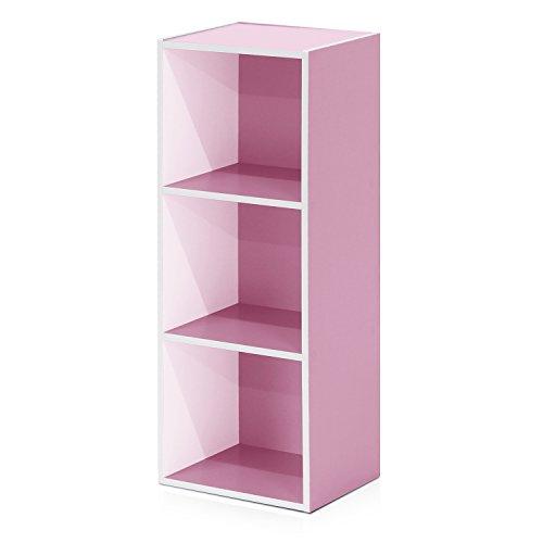 Furinno 3-Tier Open Shelf Bookcase, White/Pink 11003WH/PI
