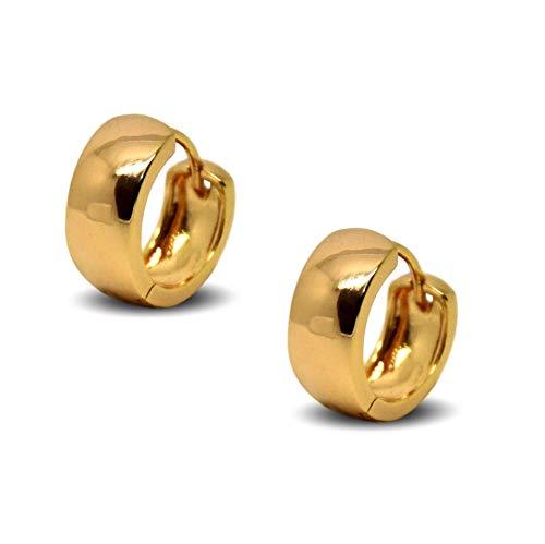 Blue Diamond Club - PAIR Huggie Hoop Earrings 18ct Gold Filled Small Huggies 6mm Wide Womens or Mens (PAIR)