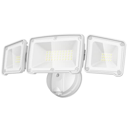 LEPOWER 3500LM Dusk to Dawn LED Security Lights Outdoor, 35W Outdoor Flood Light with Photocell, 5500K, IP65 Waterproof 3 Head Exterior Light for Garage, Patio, Yard