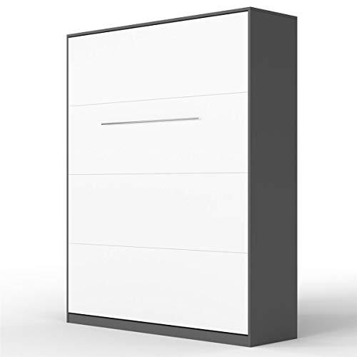 SMARTBett Standard 160x200cm Vertikal Anthrazit/Weiss Komfort Lattenrost | ausklappbares Wandbett, Wandklappbett fürs Gästezimmer, Büro, Wohnzimmer, Schlafzimmer