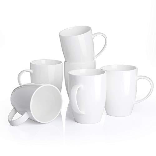 Panbado 6 TLG. Kaffeetassen aus Porzellan, Weiß Kaffeepott Set, 370 ml Große Tasse, 11 cm hoch, weiß Modernes Design, mit henkel für Heißgetränke, Spülmaschine & Mikrowelle geeignet