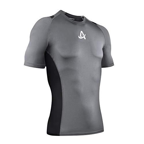 AMZSPORT Herren Kurzarm Kompressionsshirt Schnelltrocknend Sport Laufshirt Funktionsshirts - Grau Schwarz L