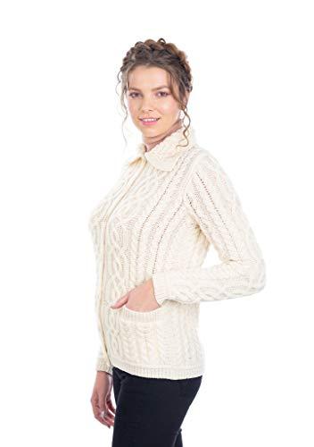 100% Merino Wool Aran Celtic Knit Women Cardigan with Pockets (Natural, Medium)