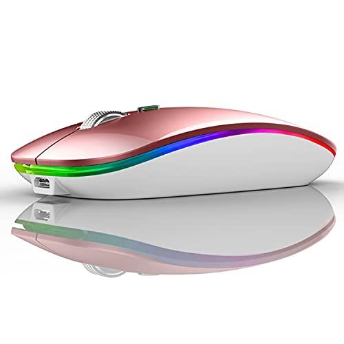 Uiosmuph Ratón inalámbrico LED, G12 Delgado Recargable inalámbrico silencioso ratón, 2.4 G, USB óptico inalámbrico, ratón con Receptor USB y Adaptador Tipo C (Oro Rosa)