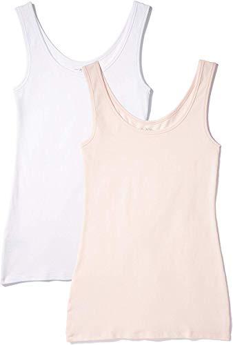 Iris & Lilly Unterhemd Damen aus Baumwoll-Jersey mit U-Ausschnitt, 2er Pack, Mehrfarbig (Weiß, Soft Pink), Small