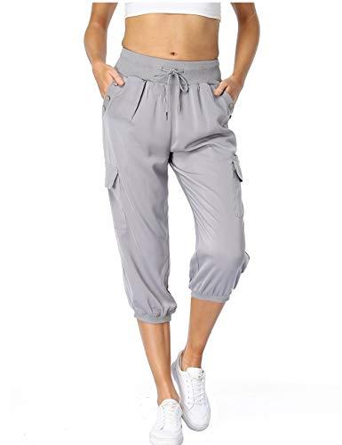 Dilgul Pantalones Mujer 3/4 Pantalones de Deporte Casual Recortados Elásticos Yoga Running Jogger Fitness Pantalones Chandal con Bolsillo Gris Large