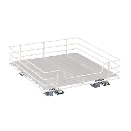 Household Essentials 1516-1 Glidez Undersink Sliding Organizer   Pull Out Cabinet Shelf   White   15-Inch