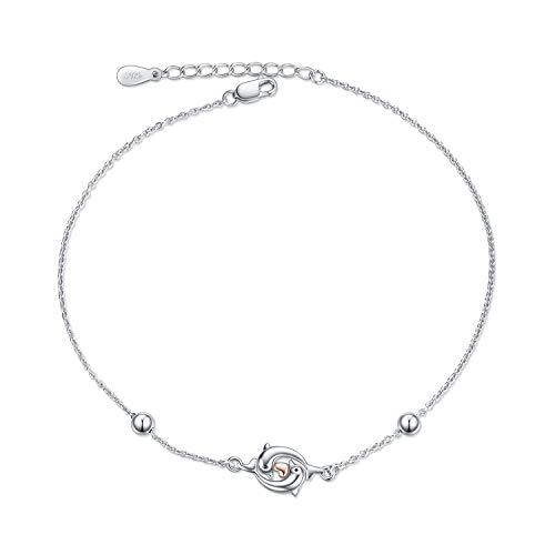 WINNICACA Delfin Armband Sterling Silber Ocean Bead Armreif Armband Muttertag Schmuck für Frauen Teenager Geburtstagsgeschenke