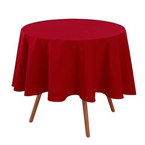 Deconovo Rund Tischwäsche Tischdecke Wasserabweisend Lotuseffekt Tischtuch 140 cm Rot