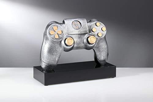 Henecka E-Sports-Pokal, Resin Gaming Controller, Silber und Bronze, mit Wunschgravur und auswählbarem Sport-Emblem, Größe 15 cm