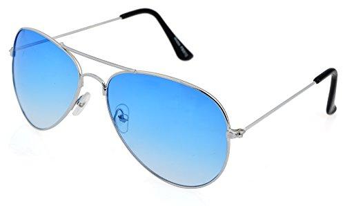 Unbekannt Pilotenbrille Sonnenbrille Fliegerbrille Pornobrille mit Federscharnier NICHT verspiegelt (Klar) (Meerblau Gläser/Silber Rahmen)