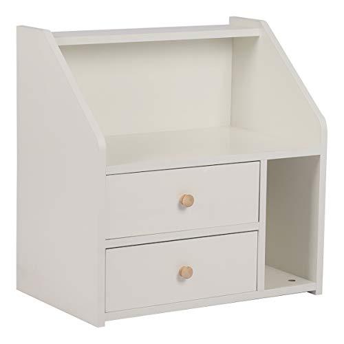 LEPAK Nachttisch mit 2 Schubladen Nachttschrank Nachtkommode Nachtkonsole for Schlafzimmer Holz weiß
