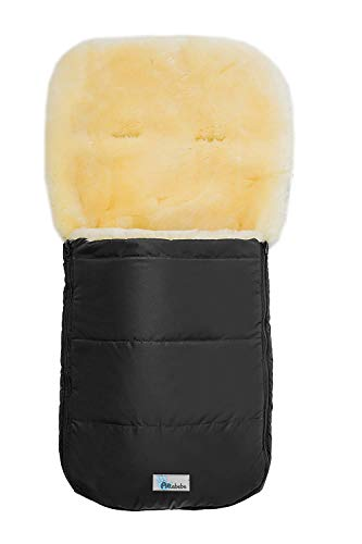 Set Altabebe MT2200LP Lammfellfußsack Nordkap & Windel Blaubaer, Baby Winterfußsack 9-36kg, Fußsack für Kinderwagen Buggy Babyschale, Fußsack mit echten Lammfell, Design:schwarz