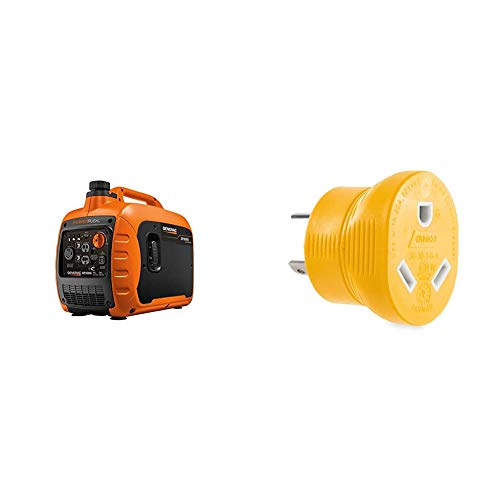 Generac 7129 GP3000i Inverter Generator & Camco Heavy Duty PowerGrip 30 Amp 3 Prong Generator Adapter for RVs and Autos - Contoured Shape For Easy Grip and Removal   125 Volts & 3750 Watts -(55333)