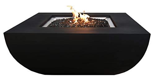 Kaminlicht Gas-Feuerstelle Itasy Beton-Optik schwarz aus Faserbeton Garten Terrasse