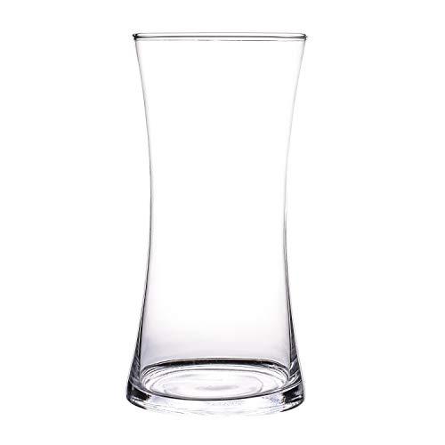 Glasvase, Transparent, KnikGlass Vase Glas Deko Blumenvase für Tischdeko und Hochzeit, Höhe 20 cm (#B)