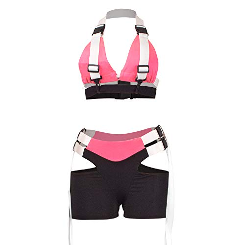 VWIWV Women's Sexy 2 Piece Buckle Outfit Crop Top Bodycon and Shorts Clubwear Tracksuit Set Pink