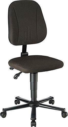 bimos ESD-werkdraaistoel - stoffen bekleding zwart, stalen buisframe - met wielen - draaistoel ESD ESD-werkstoel