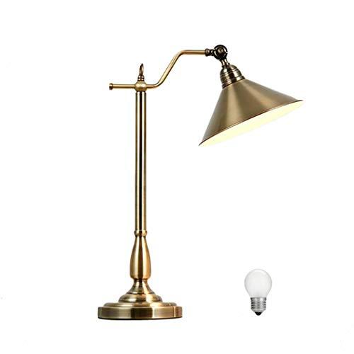 E27 Vintage Lámpara de Mesa de Metal Con Bombilla, Lámpara de Escritorio Antigua Lámpara Interior Ajustable, Lámpara de Lectura de Bronce Para Dormitorio Sala de Estar Estudio de Cabecera